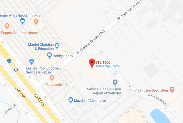Map of 1015 W. Medical Center Blvd STE 1300, Webster, TX 77598